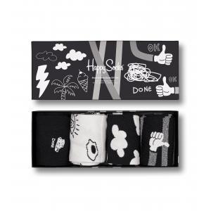 Ponožky Happy Socks 4-Pack Black And White Socks Gift Set