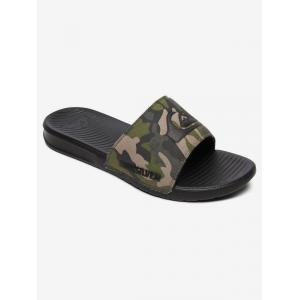 Pantofle Quiksilver BRIGHT COAST SLIDE GREEN/BROWN/BLACK