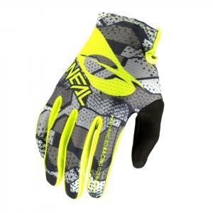 Cyklistické rukavice Oneal MATRIX Glove CAMO V.22 Grey/Neon Yellow