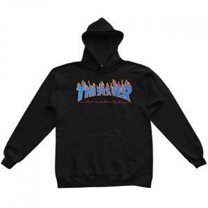 Mikina Thrasher FLAME Logo Hood Black/Blue