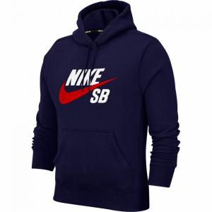 Mikina Nike SB ICON HOODIE PO ESSNL midnight navy/university red