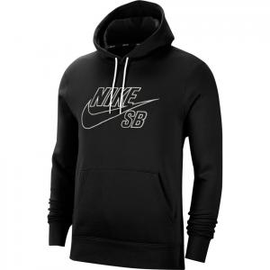 Mikina Nike SB PO HOODIE EMBROIDERY black/summit white