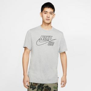 Tričko Nike SB TEE LOGO EMB dk grey heather/black