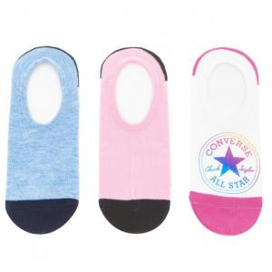 Ponožky Converse 3PP No show stamp Ultra low cut White/pl.pink Chambray HTR Converse pink