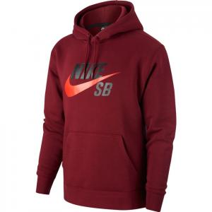 Mikina Nike SB ICON HOODIE PO ESSNL dark beetroot/chile red