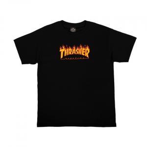 Tričko Thrasher FLAME LOGO Youth SS Black