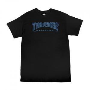 Tričko Thrasher OUTLINED T-Shirt Black/Black