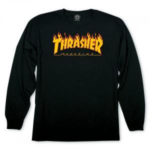 Tričko Thrasher FLAME L/S Black