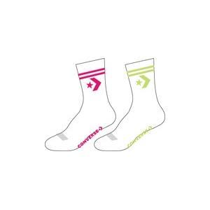 Ponožky Converse 2pp Star Chevron Double Stripe Anklet White/Cerise Pink  White/Lemongrass