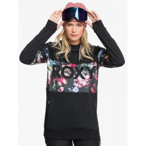 Mikina Roxy LIBERTY HOODIE TRUE BLACK BLOOMING PARTY