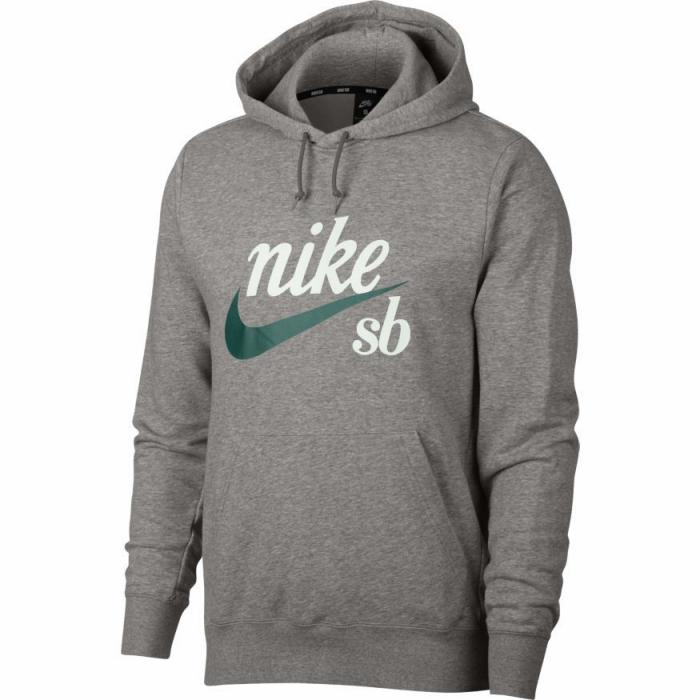 Mikina Nike SB HOODIE WASHED ICON dk grey heather/summit white/bicoastal