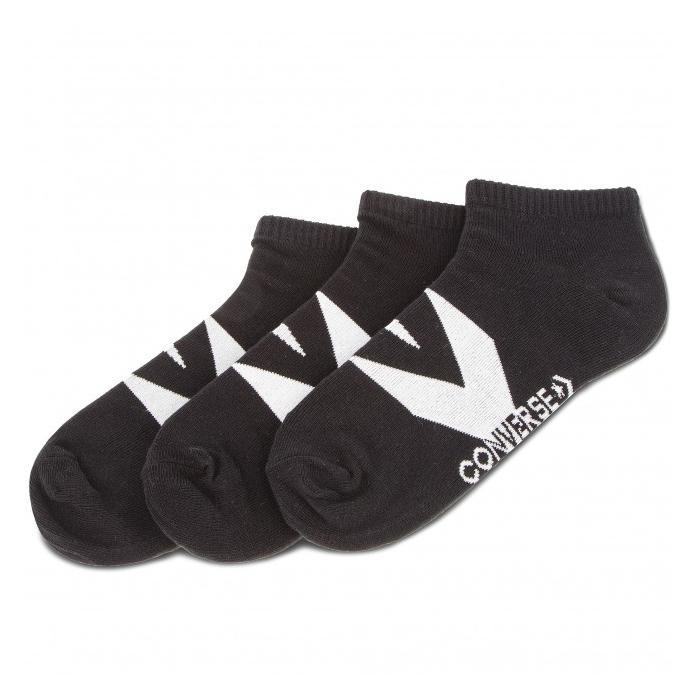 Ponožky Converse 3PP Men's Boom Star Chevron, flat knit - No show Black/White