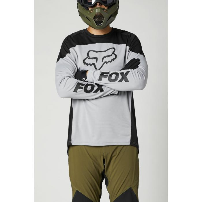Pánský cyklodres Fox Defend Ls Jersey Steel Grey