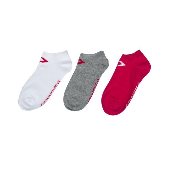 Ponožky Converse 3PP Basic Women low cut, flat knit - Low cut Pink pop/white White/pink pop Lt grey/