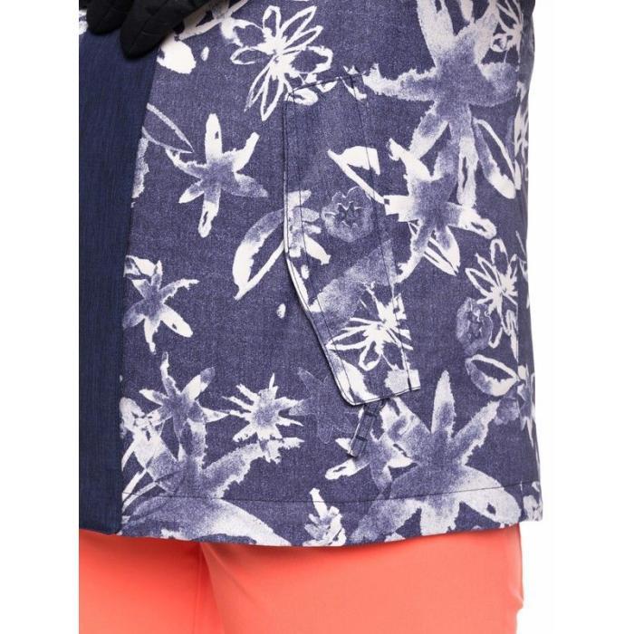 Zimní bunda Roxy JETTY BLOCK JK MID DENIM BLEACHED FLOWERS