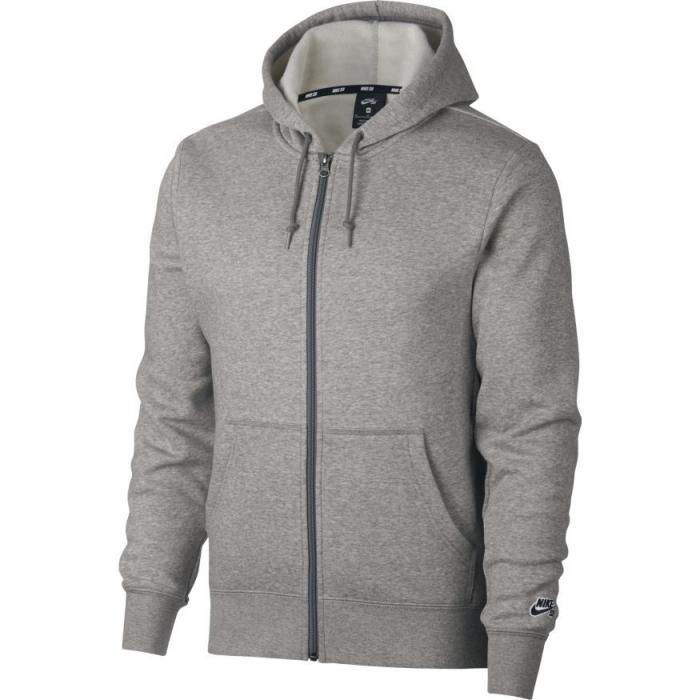 Mikina Nike SB HOODIE ICON FZ ESSNL dk grey heather/black