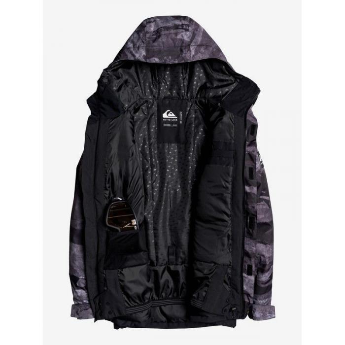 Zimní bunda Quiksilver MISSION PRINTED BLOCK JK BLACK MATTE PAINTING