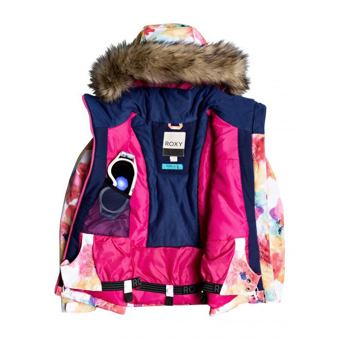 Zimní bunda Roxy JET SKI GIRL JK BRIGHT WHITE SUNSHINE FLOWERS